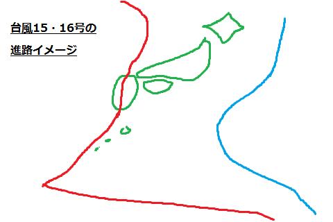 台風15・16号の進路(2015)